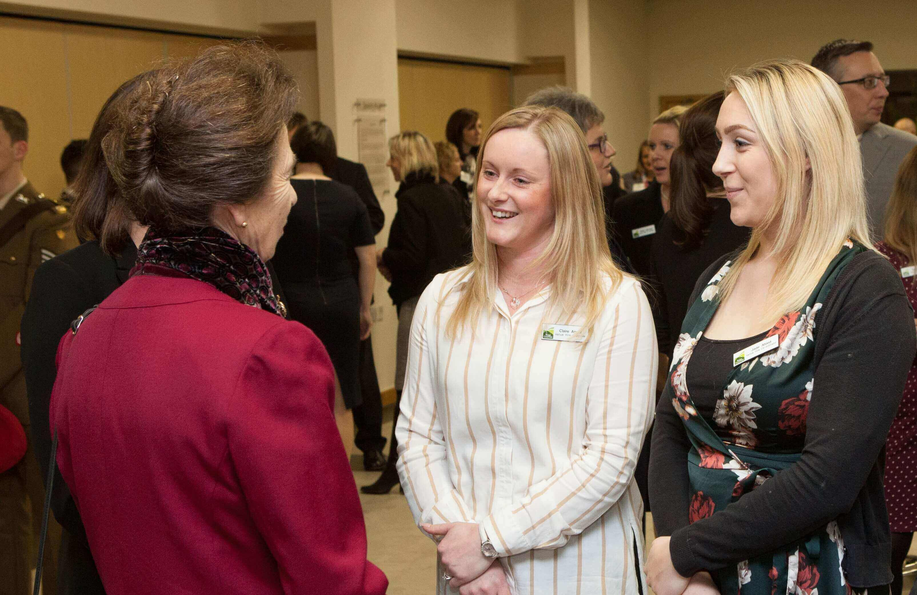 HRH The Princess Royal meeting Claire Amott - Venue Hire Executive Three Counties and Jade Allard - Venue Hire Coordinator Three Counties.jpg